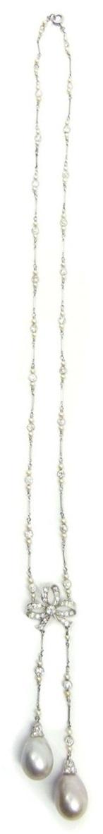 Antique diamond bow and pearl sautoir.