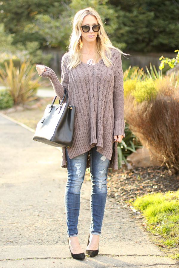 oversized chunky knit sweater free people comfy cozy sweater mushroom taupe