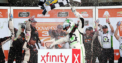 "Tyler Reddick endured a flurry of late-race incidents and five ""#NASCAR Overtimes"" to win the PowerShares QQQ 300 on Saturday."