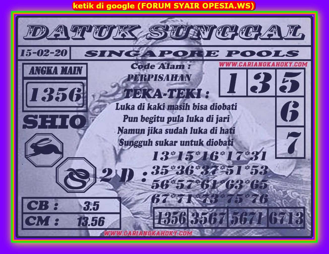 Kode syair Singapore Sabtu 15 Februari 2020 77