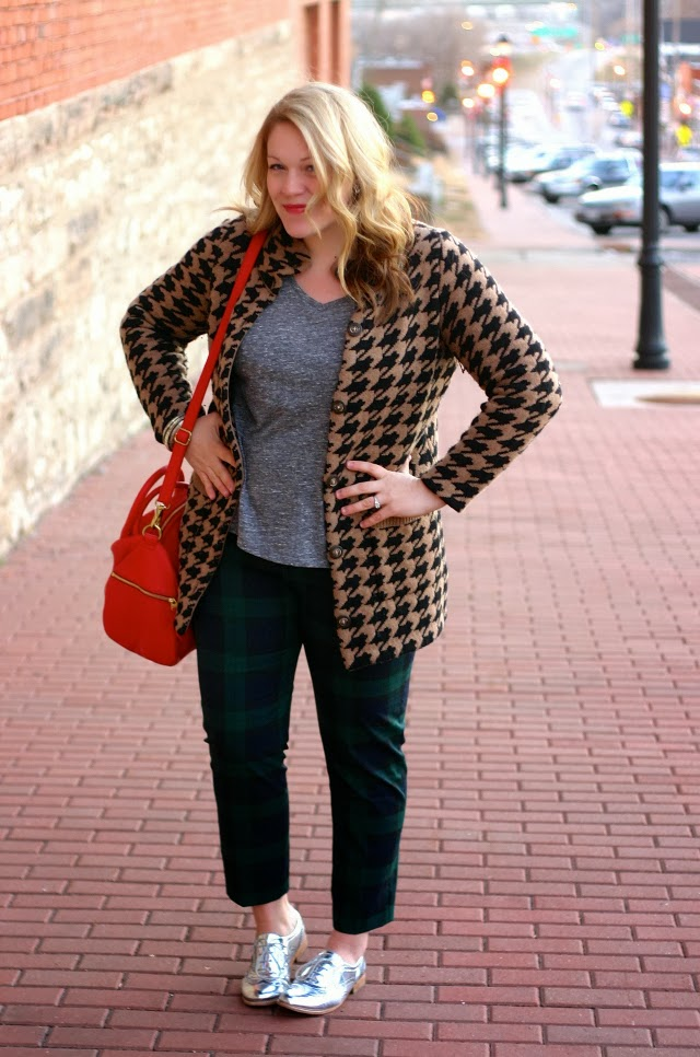 plaid pants with madewell houndstooth sweater