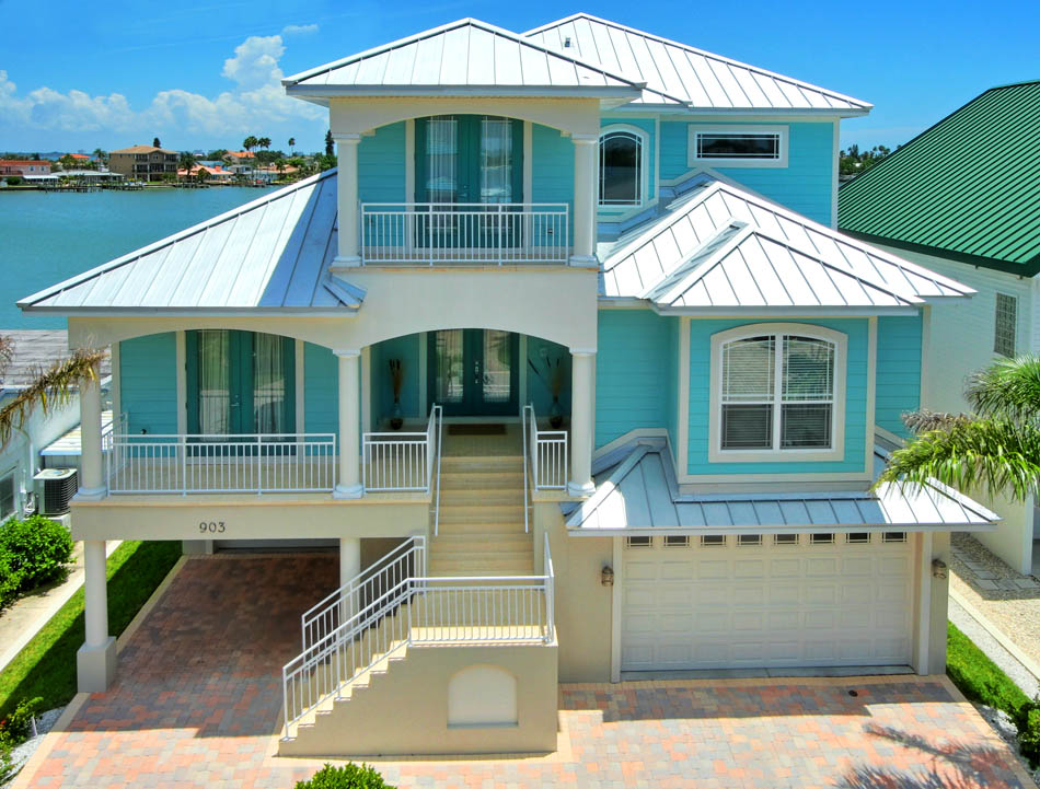 Wood Plank Ceiling Vibrant Paint Colors On The Interior And Exterior Furniture Layout So You Don T Miss Beautiful Water Front View An Open Floor