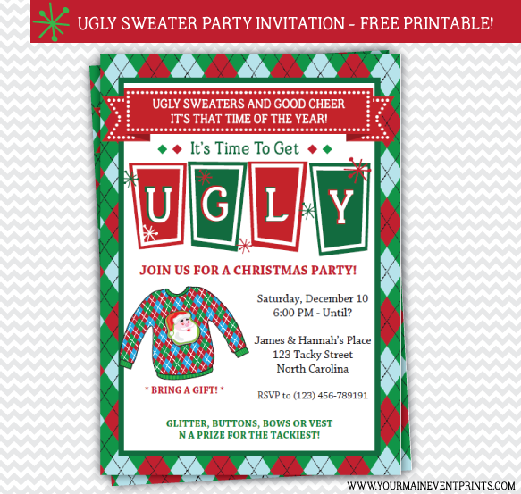 Ugly Christmas Sweater Party Invitations Free for adorable invitations sample