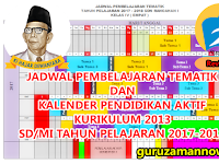 JADWAL PEMBELAJARAN TEMATIK DAN KALDIK SD/MI KURIKULUM 2013 TAHUN PELAJARAN 2017-2018
