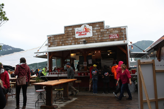 Dining at Tracys King Crab Shack in Juneau
