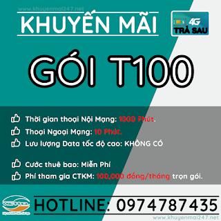 T100 - GÓI KHUYẾN MÃI TRẢ SAU VIETTEL T100
