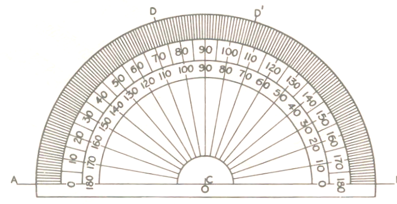 circular protractor template - basic engineering drawing drawing instruments