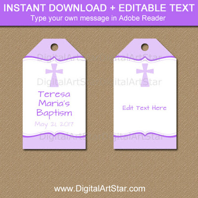 lavender Baptism gift tags for a girl's Baptism