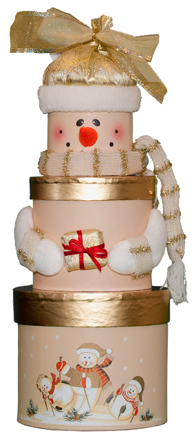 A round Christmas gift box that stacks up in tiers with snowmen decorating each tier of the box.