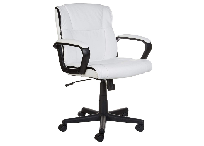 AmazonBasics Standard Leather-Padded Mid-Back Office Chair