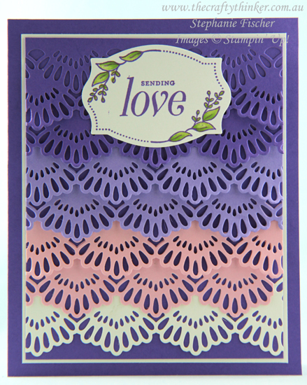 #thecraftythinker  #stampinup  #ombre  #delicatelaceedgelits #cardmaking , Ink It Stamp It Blog Hop, Delicate Lace Edgelits, Pretty Label Punch, Ombre, Stampin' Up Australia Demonstrator, Stephanie Fischer, Sydney NSW