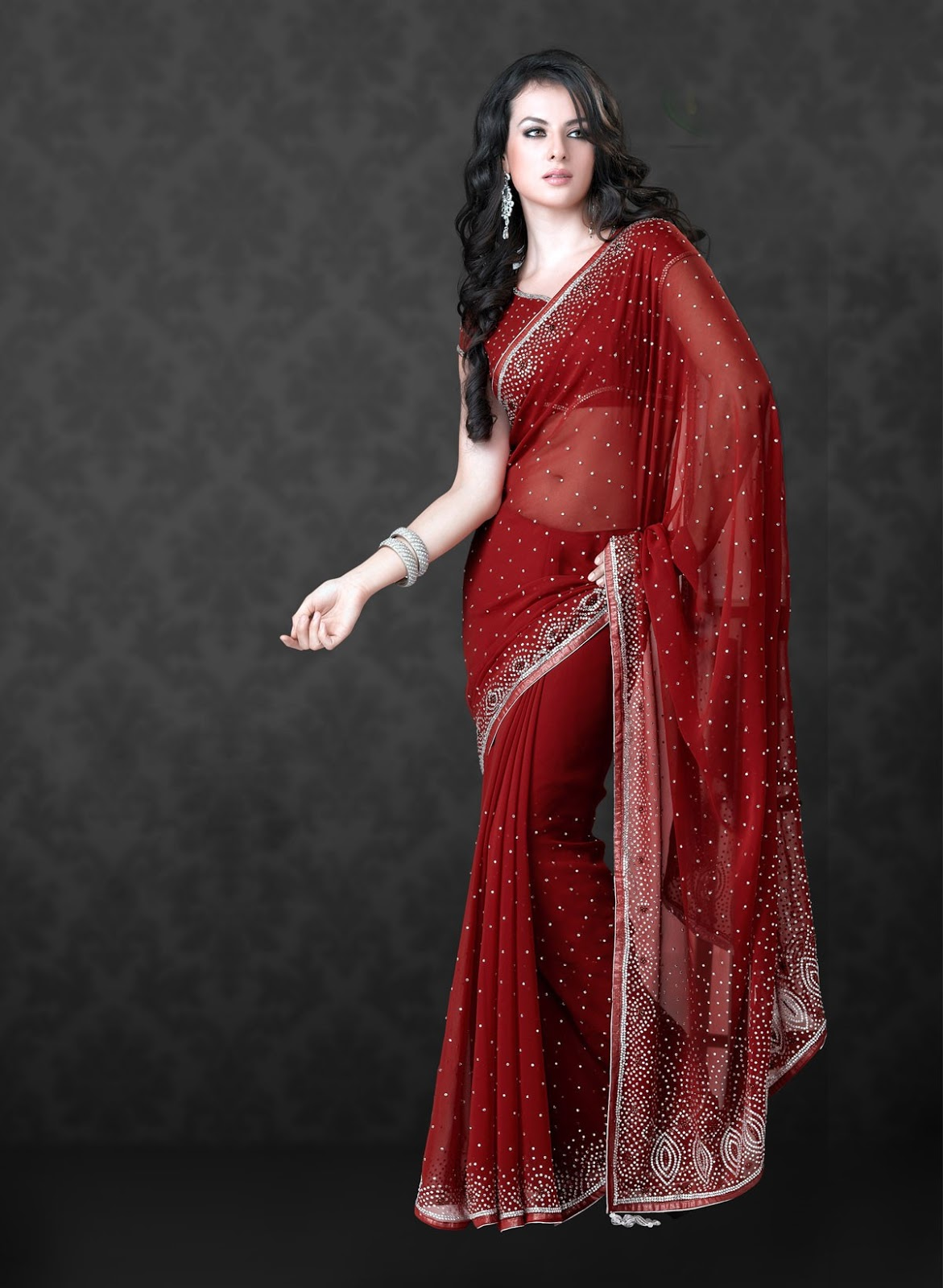 Modern Universe Fashions Red Faux Saree