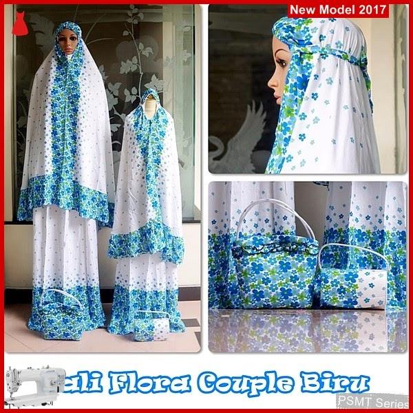 PSMT049A Mukenah Bali Flora Biru ibu Plus anak