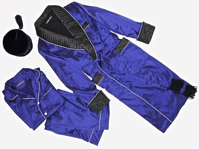 Mens silk dressing gown quilted robe smoking jacket vintage gentleman