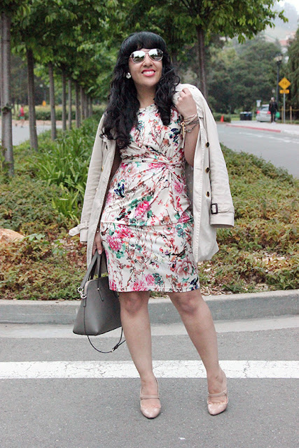 Trench Coat and Floral Dress SF Office Outfit