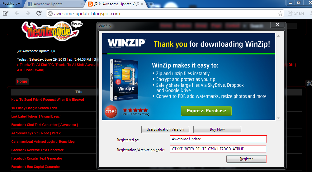 how to register winzip free