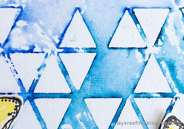 Layers of ink - Stencil and Scribble Sticks Background Tutorial by Anna-Karin Evaldsson. Triangle stencil background.