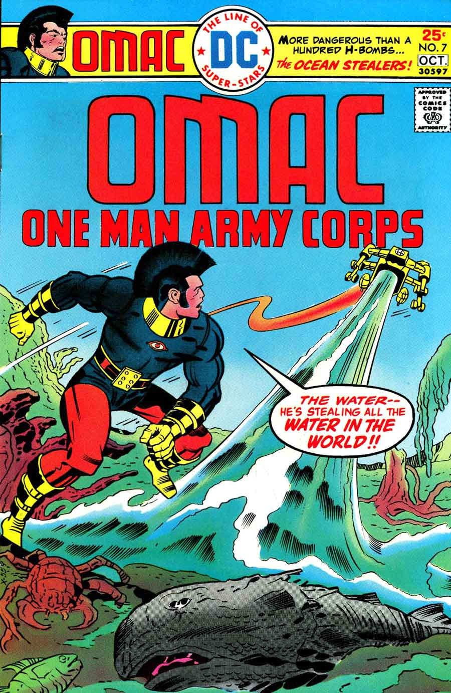 Omac v1 #7 dc bronze age comic book cover art by Jack Kirby