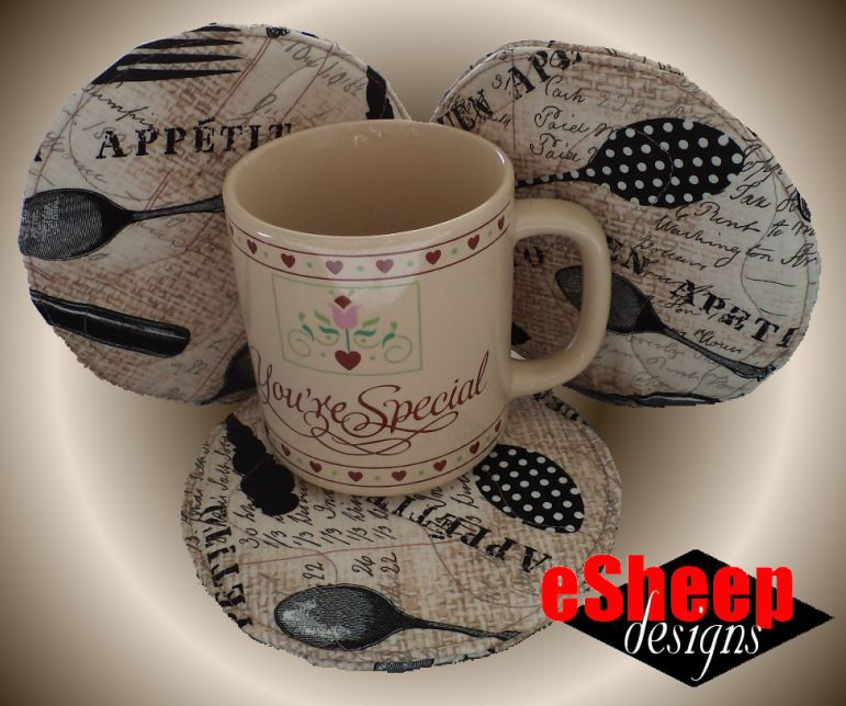 Made with UpCycled Designer Textiles Set of 3 UpCycled Mug Rug