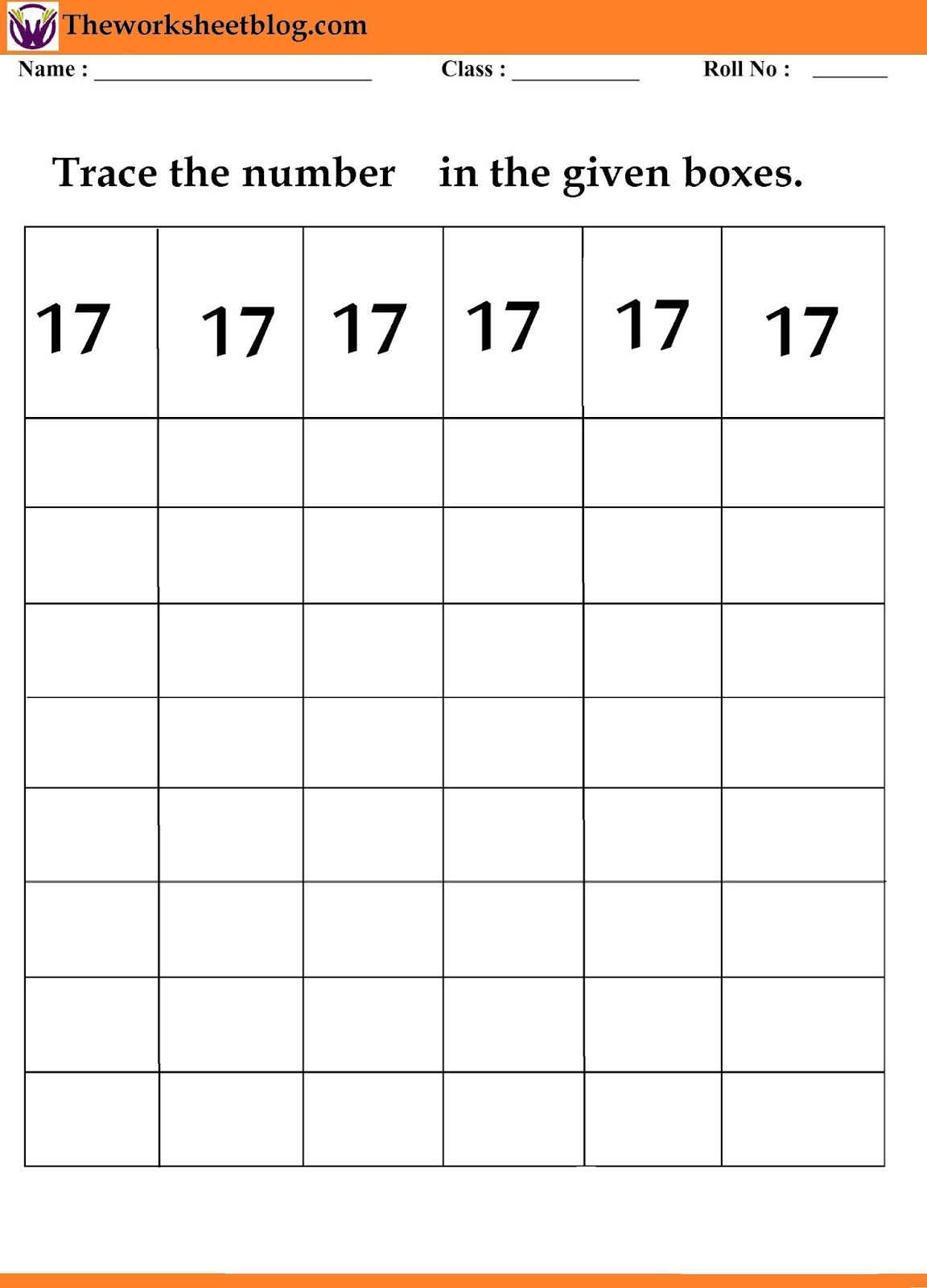 Number Tracing Digit 11 20