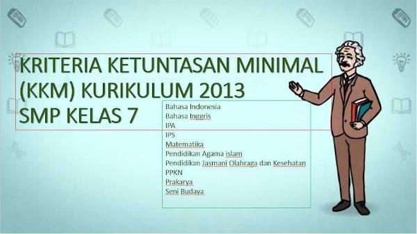 KKM Kelas 7 SMP Kurikulum 2013 Lengkap Semua Bidang Studi
