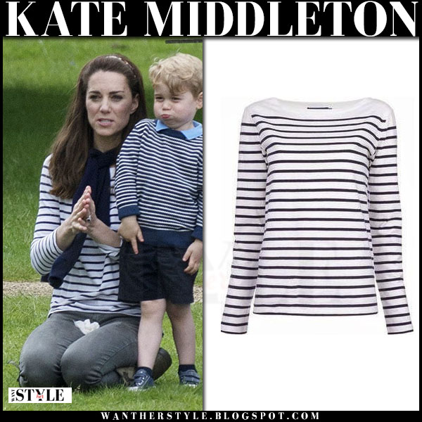 Kate Middleton in white and blue striped top ralph lauren tori what she wore