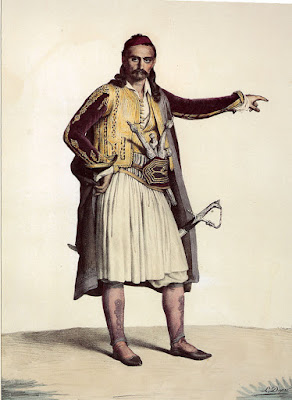 Souliote warrior, painting by Dupré Louis (1820).