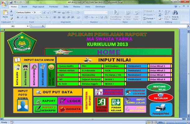 Aplikasi Raport K13 MA dengan KKM dan Ranking