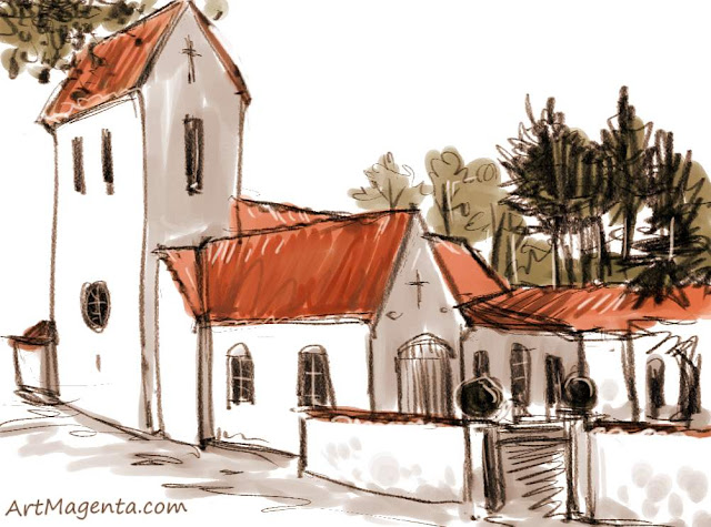 The curch of Kirseberg in Malmö is a sketch by artist and illustrator Artmagenta