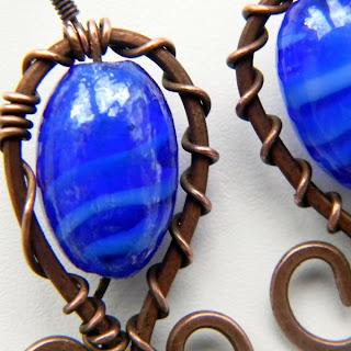 купить медные серьги с синим медь copper wire earrings Anabel Украина украшения бижутерия
