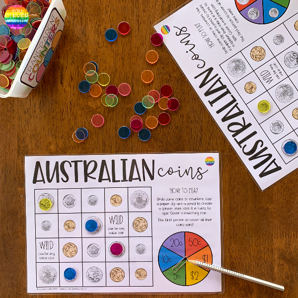 Australian Money - Spin + Cover Australian Coins Game | you clever monkey