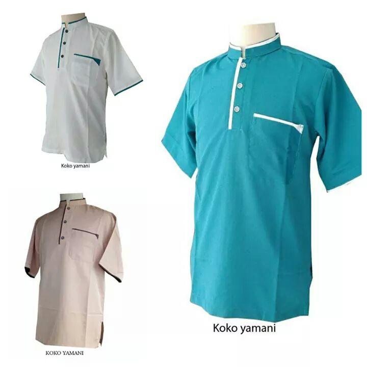 Baju Koko Pakistan - Model Baju Koko Pria Kombinasi Lengan Panjang dan Pendek