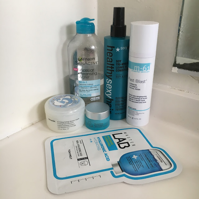 Glossier Moisturizing Moon Mask, Garnier SkinActive Micellar Cleansing Water, TULA Revitalizing Eye Cream, Healthy Sexy Hair Soy Tri-Wheat Leave-In Conditioner, bluemercury M-61 Fast Blast 2-Minute Vitamin C Facial Mask, Tony Moly Master Lab Intensive Hydrating Hyaluronic Acid Sheet Mask, skincare, hair, hair products, skin care, blue beauty products, beauty routine, beauty regimen