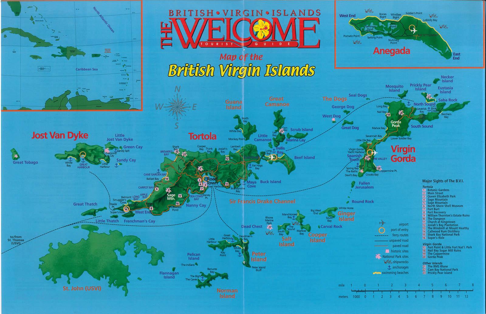 Mapas das Ilhas Virgens Britânicas | Reino Unido