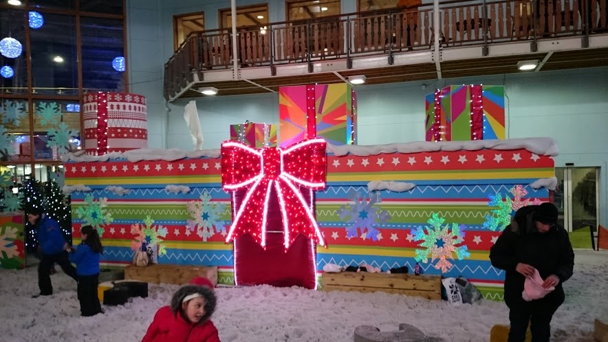 Santa's grotto decorated as a giant present at chill Factore, Manchester
