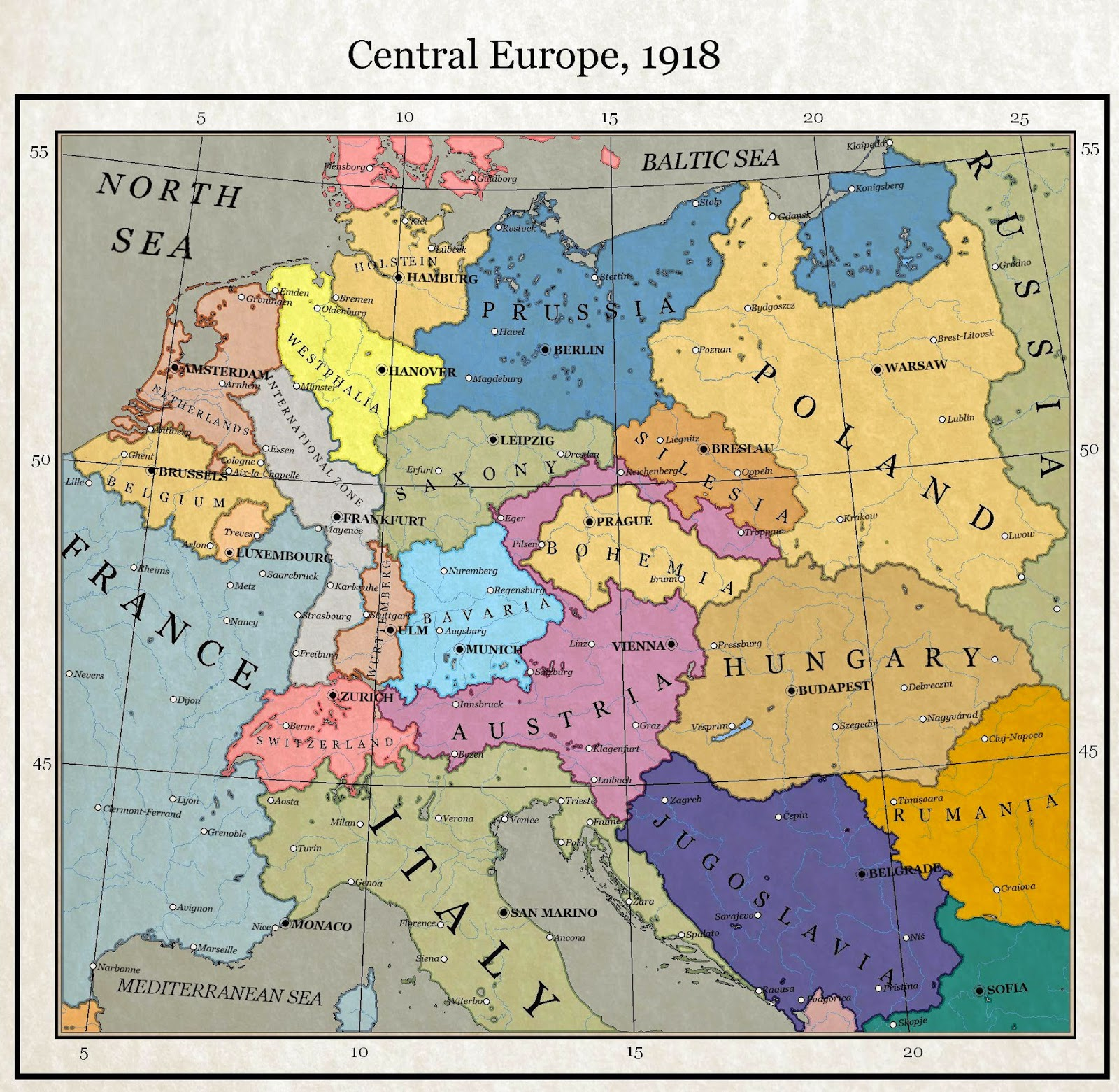 Map Of Germany In 1918.Alternate History Weekly Update Map Monday Central Europe 1918 By