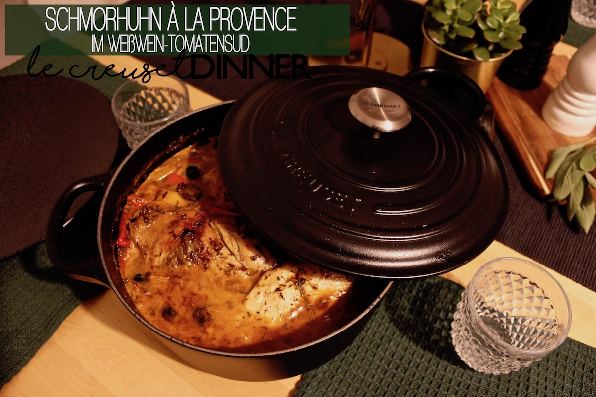 Food Dinner Rezept Le Creuset Bräter Gericht Schmorhuhn Hühnchen Provence Rezept Langsam Garen www.theblondelion.com
