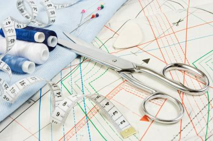 Sewing pattern and scissors