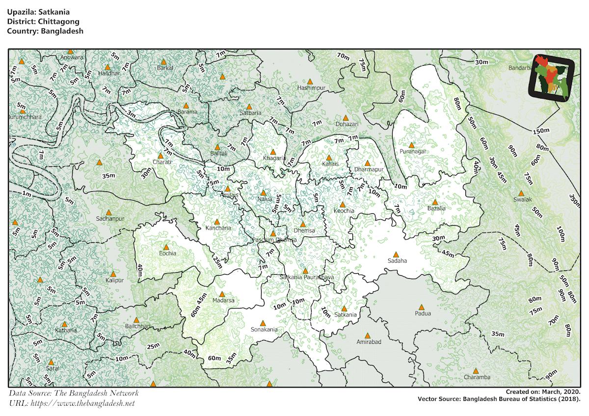 Satkania Upazila Elevation Map Chittagong District Bangladesh