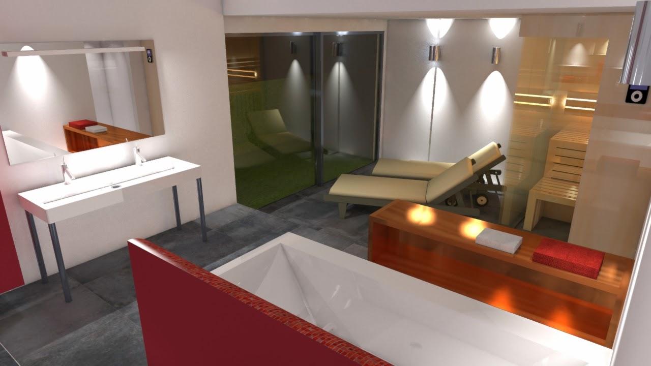 spa und wellness  interwellness Badplanung mit Sauna in