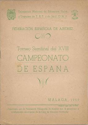 Folleto de la Semifinal del Campeonato de España de Ajedrez 1959 (1)