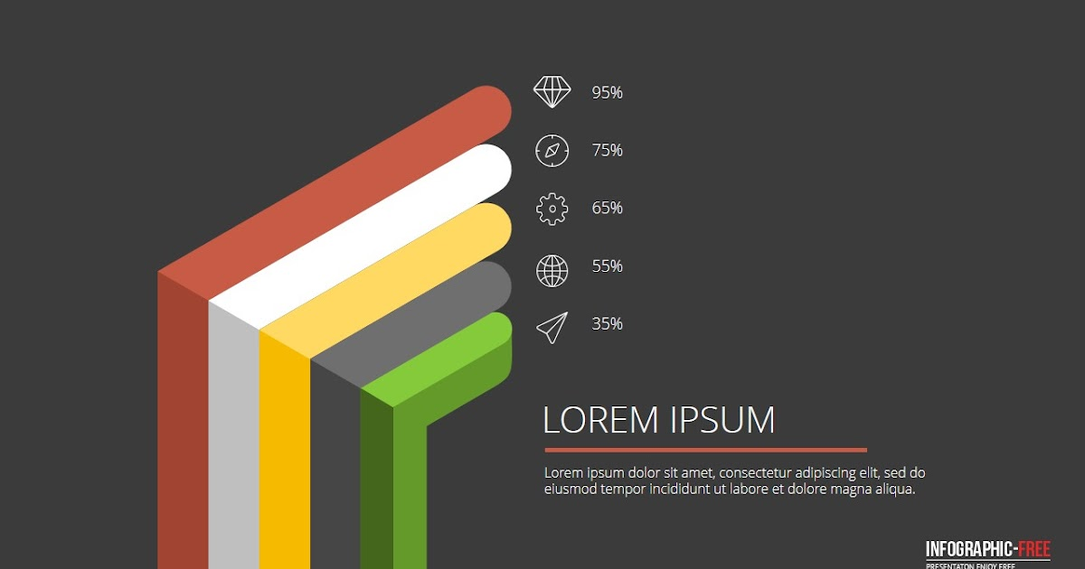 Free powerpoint template with flat 3d design banner for 3d design online