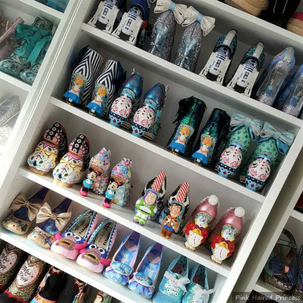Ikea Billy shelves with Disney character heeled shoes on