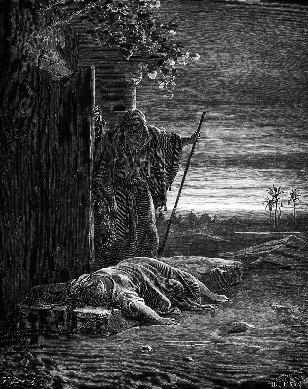 The merciless manner in which the Levite hands his concubine over to the savagery of the Benjamite men and then in the morning prepares to continue his journey home without her, exposes a brutal heart that is murderous to the degree that when he trips over his wife lying on the threshold, he commands her to 'get up; let's go' (Judges 19:28).