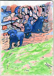 """Puppies And Firewood"" - Watercolor by Paul Sherman"