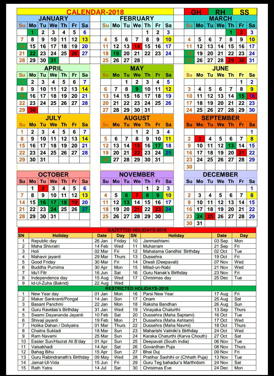 Calendar 2018 With Gazetted And Restricted Holidays Po Tools