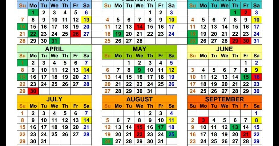 Calendar For 2018 Showing Holidays