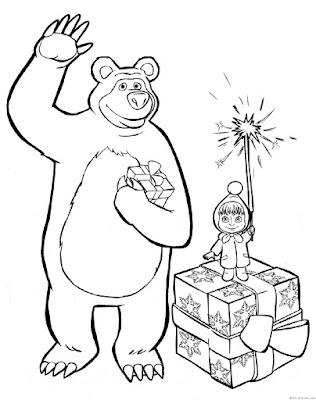 Masha y el oso para colorear