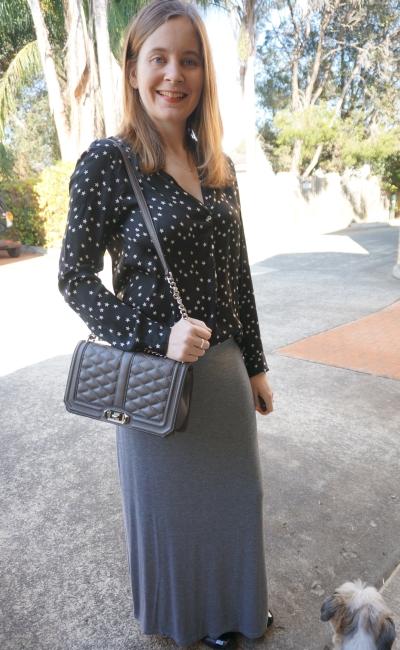AwayFromBlue|Zara star print shirt grey maxi skirt Rebecca Minkoff Love bag