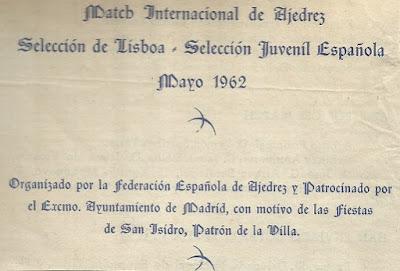Detalle del folleto del Match Internacional de Ajedrez España-Lisboa - Madrid 1962